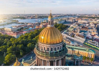 Aerial view dome of the Colonnade of St Isaac's Cathedral, in background the Admiralty, Peter and Paul Fortress, the Winter Palace Hermitage, overlooking historic part of the city Saint-Petersburg