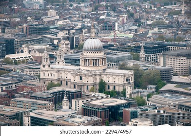 Aerial view of the domed exterior of the historic landmark of St Pauls Cathedral, London