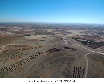 Aerial view of Don Quixote's Windmills in La Mancha, Ciudad Real, Spain . Drone Photo