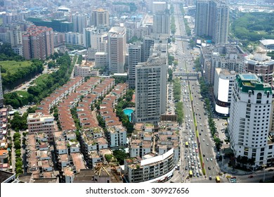 aerial view of Dongguan urban district