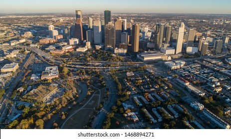 Aerial view of down town Houston building, Texas, United States in the afternoon, golden hour, during sunset