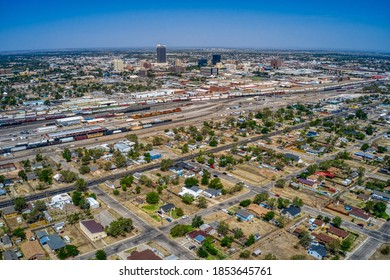 Aerial View of Downtown Amarillo, Texas in Summer