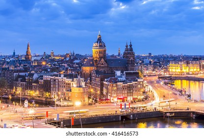 Aerial view of downtown Amsterdam, the Netherlands during sunset.