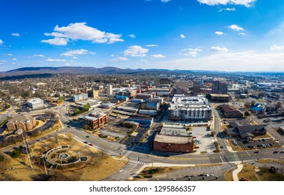 An aerial view of the downtown area of the city of Huntsville, Alabama.