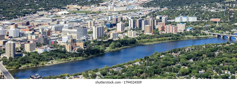 Aerial view of the downtown area of Saskatoon.  August 20, 2016