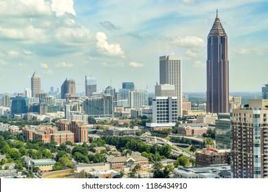 Aerial View of Downtown Atlanta - Atlanta, Georgia, USA