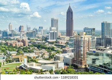 Aerial View of Downtown Atlanta (Midtown) and Olympic Park - Atlanta, Georgia, USA