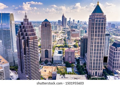 Aerial view downtown Atlanta skyline