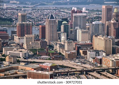 aerial view of downtown baltimore and highways, june, 2015