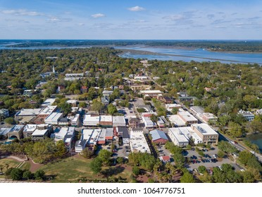 Aerial view of downtown Beaufort, South Carolina and surrounding water.