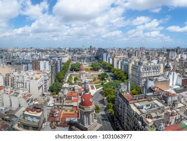 Aerial view of Downtown Buenos Aires and Plaza Congreso (Congress Square) - Buenos Aires, Argentina