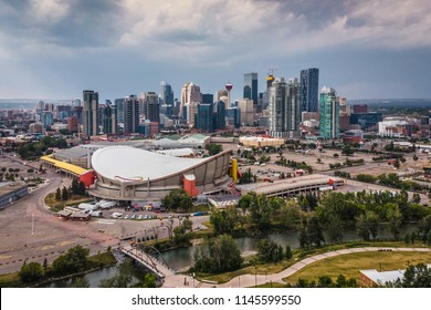 Aerial view of Downtown Calgary, Alberta, Canada.