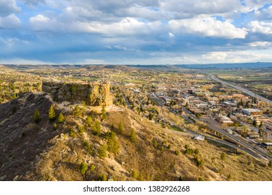 An aerial view of downtown Castle Rock over The Rock
