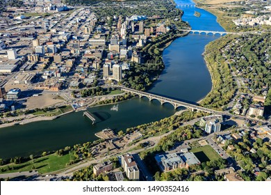 Aerial view of the Downtown (Cemtral Business District) area of Saskatoon.  Aug 7, 2016