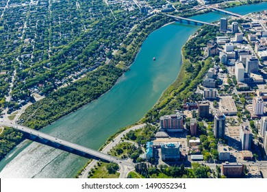 Aerial view of the Downtown (Central Business District) neighborhood of Saskatoon.  August 27, 2017