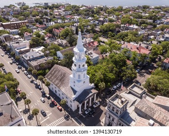 Aerial view of downtown Charleston, South Carolina with St Michaels church in foreground.