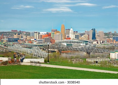 Aerial view of Downtown Cincinnati and the bridges crossing the Ohio River from Kentucky to Ohio from Devou Park, which has a commanding view of downtown Covington, Kentucky and Cincinnati, Ohio.