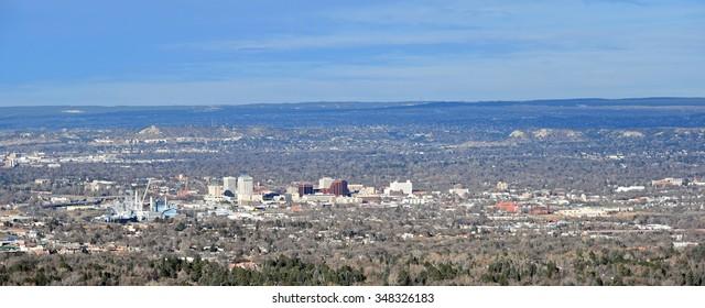 Aerial view of downtown Colorado Springs, Colorado.