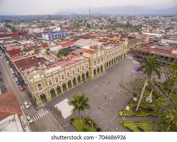 Aerial view of downtown Cordoba, Veracruz, Park May 21 with the Municipal Palace in the background