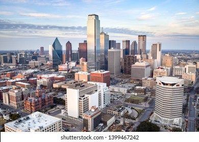 Aerial View of Downtown Dallas on a Summer Evening - Dallas, Texas, USA