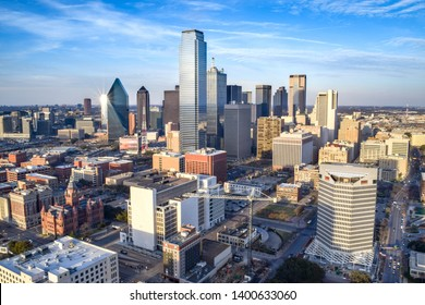 Aerial View of Downtown Dallas on a Summer Day - Dallas, Texas, USA