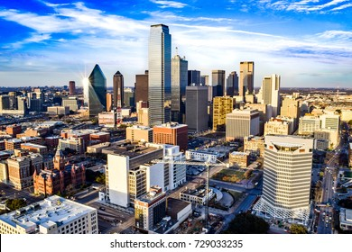 Aerial View of Downtown Dallas on a Summer Afternoon - Dallas, Texas, USA