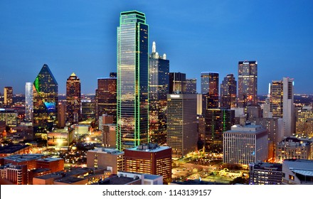 Aerial View of Downtown Dallas (Skyline) After Sunset - Dallas, Texas, USA