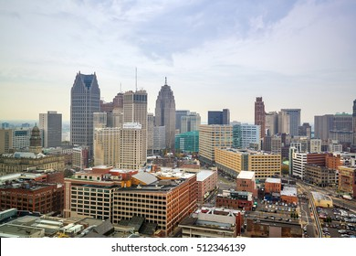 Aerial view of downtown Detroit  in Michigan USA