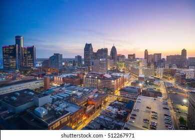 Aerial view of downtown Detroit at twilight in Michigan USA