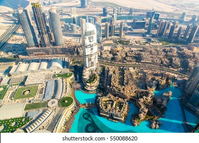 Aerial view of Downtown Dubai with Dubai Fountain and skyscrapers from the tallest building in the world, Burj Khalifa, at 828m