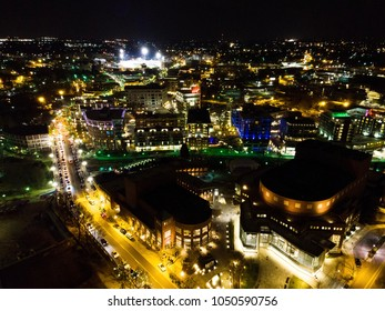 Aerial view of Downtown Greenville, SC at night on St. Patrick's day. Cityscape photography, night photography, city lights.