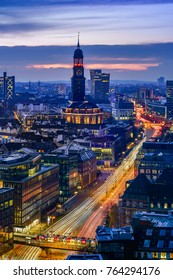 Aerial view of downtown Hamburg, Germany, at dusk.