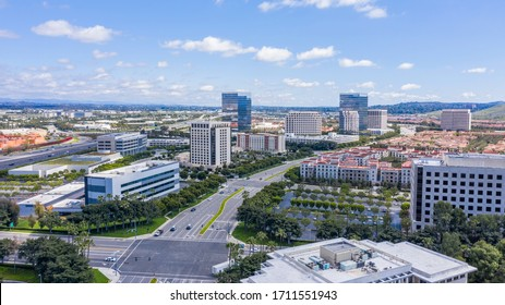Aerial view of the downtown Irvine, California skyline.