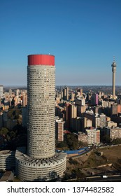 Aerial view of downtown Johannesburg including the Ponte  and Hillbrow towers