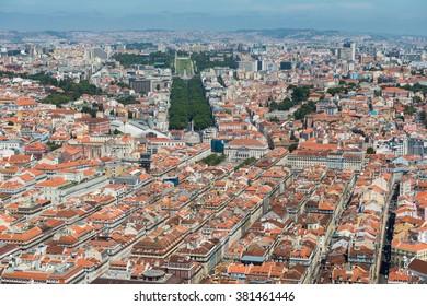 Aerial view of downtown Lisbon and Avenida da Liberdade
