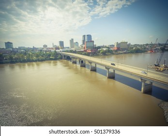 Aerial view downtown Little Rock, the capital and the most populous city of Arkansas state, US. Also available at the north side bank of Arkansas River is Broadway Bridge construction in progress.