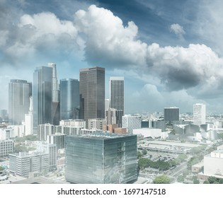 Aerial view of Downtown Los Angeles on a wonderful sunny day, California - USA.