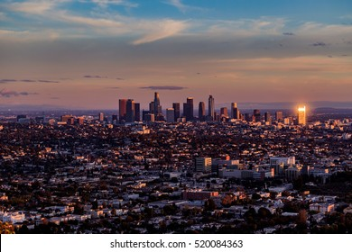 aerial view, downtown Los Angeles, sunset