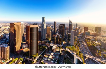 Aerial view of a Downtown Los Angeles