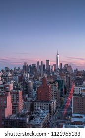 Aerial view of downtown Manhattan during sunset