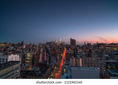 Aerial view of downtown Manhattan during sunrise