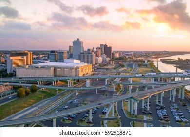 Aerial view of downtown Memphis skyline in Tennessee, USA
