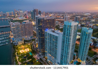 Aerial view of Downtown Miami and Edgewater shot with a drone