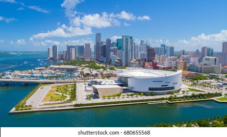 Aerial view of Downtown Miami, Florida. USA.