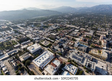 Aerial view of downtown Pasadena and the San Gabriel Mountains near Los Angeles, California.