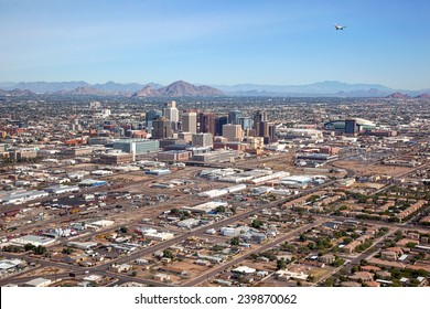Aerial view of Downtown Phoenix, Arizona Skyline looking to the northeast