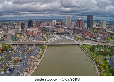 Aerial View of Downtown Rochester, New York during May