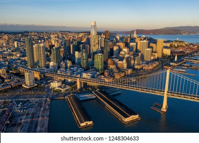 Aerial View of Downtown San Francisco and the Bay Bridge at Sunrise