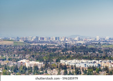 Aerial view of downtown San Jose on a clear day, south San Francisco bay, California