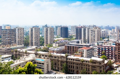 Aerial view of the downtown of Santiago, Chile from Santa Lucia hill